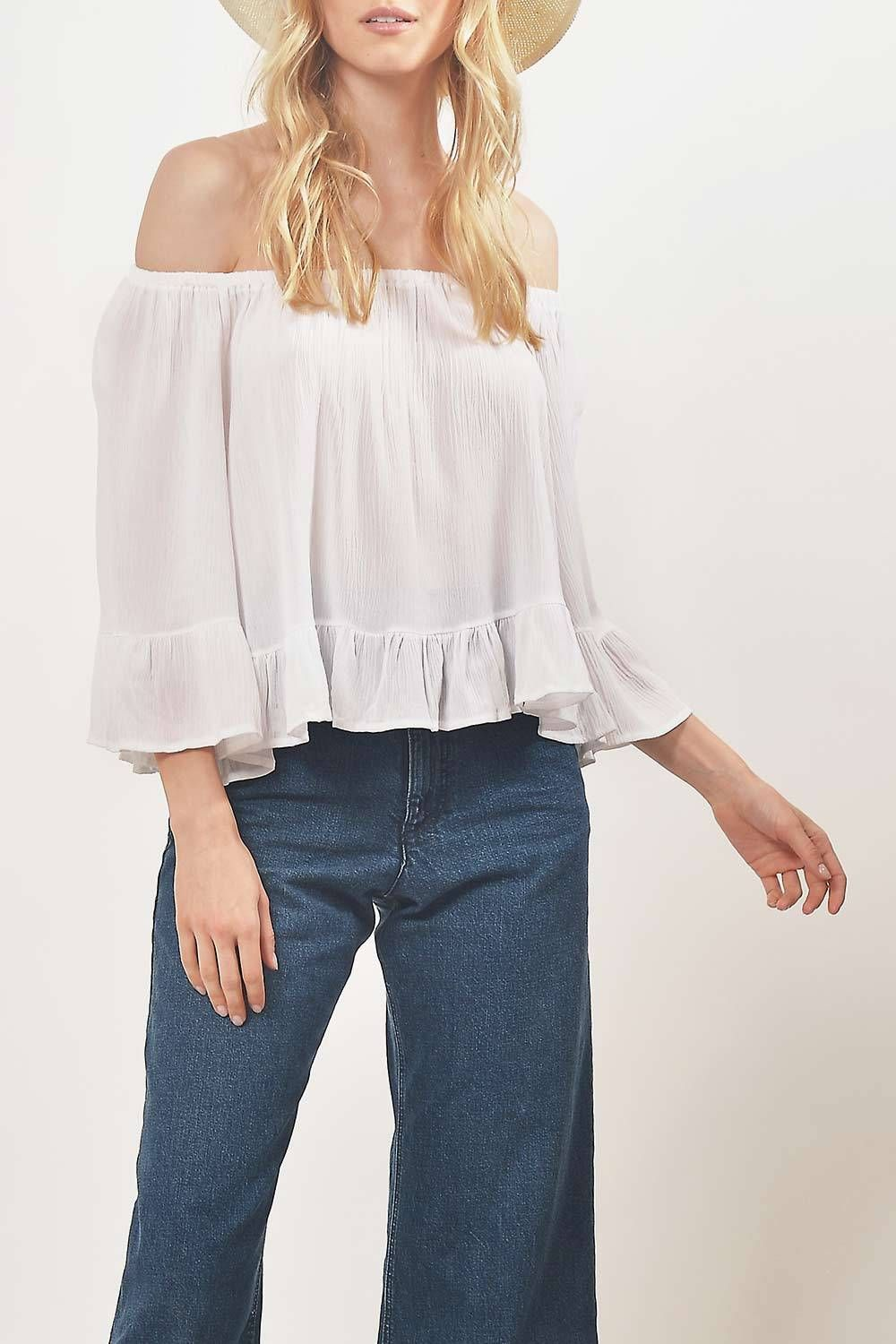 0cb77dc6f3d10 Coby Cold Shoulder Ruffle Top White