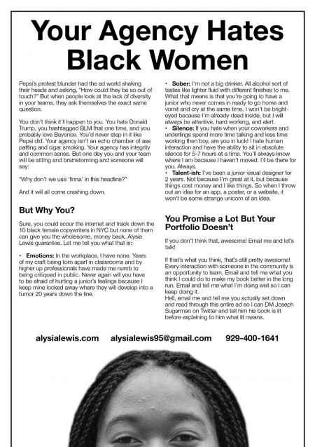 why this aspiring copywriter titled her cover letter your agency hates black women adweek