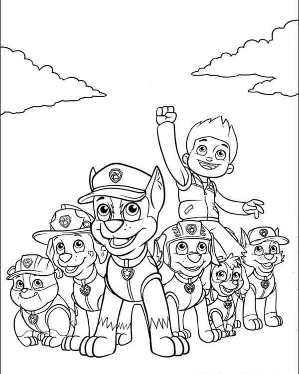 Ryder With The Team Paw Patrol Coloring Page Paw Patrol Coloring Pages Paw Patrol Coloring Paw Patrol Printables