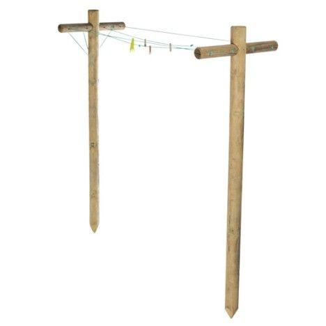 Lot 2 Poteaux A Linge Forest Style Linge 4 M D Etendage Poteau A Linge Fil A Linge Exterieur Sechoir Parapluie