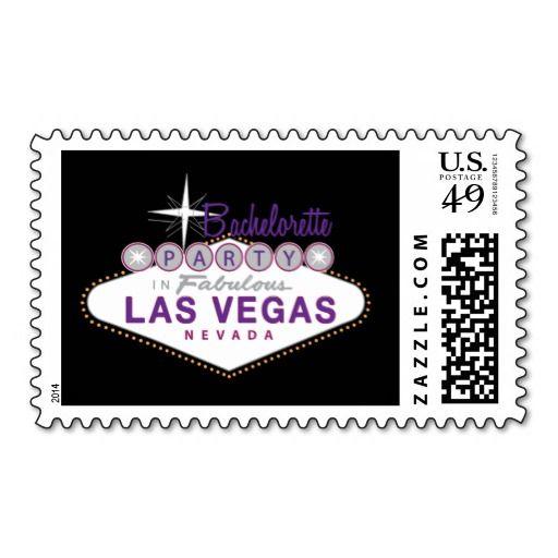 Las Vegas Bachelorette Party Custom Postage Stamp in purple and black