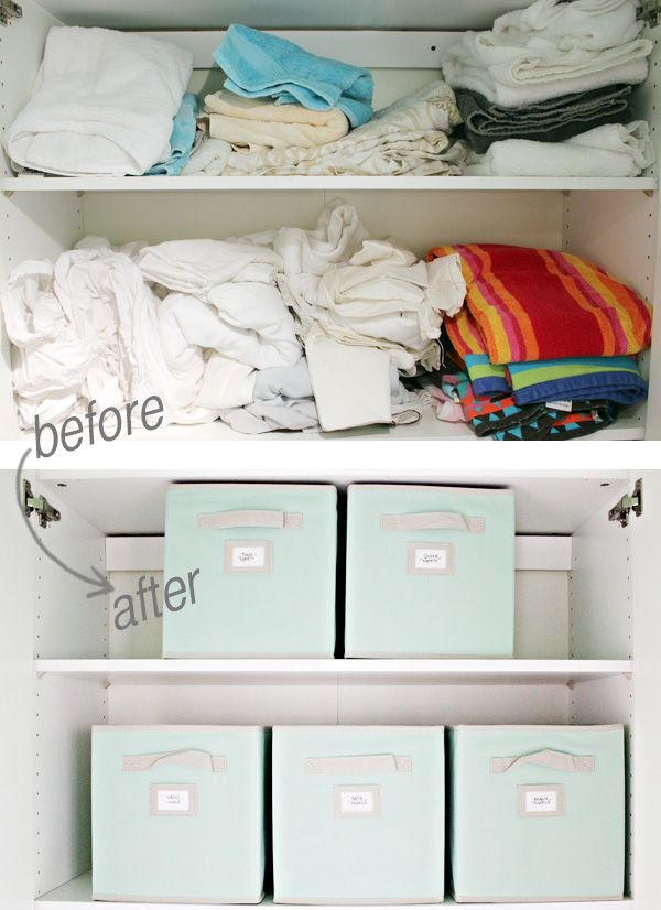 Organize Your Linen Closet Part - 36: Labeled Fabric Bins Are An Easy Way To Straighten And Organize Your Linen  Closet. All