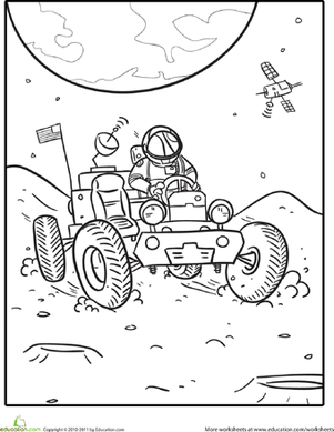 First Grade Vehicles People Worksheets Lunar Rover Coloring Page