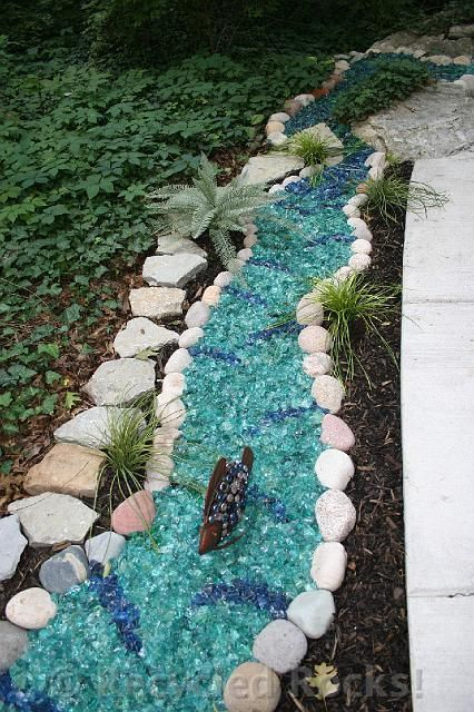 recycled rocks - glass landscaping