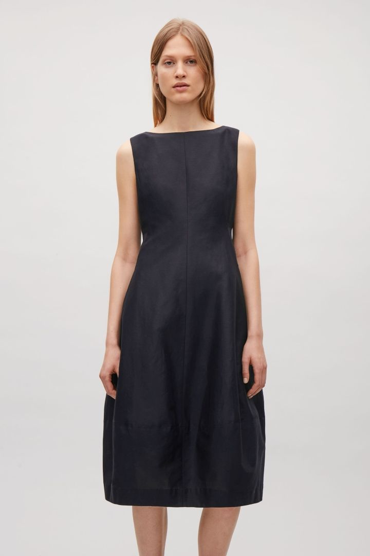 e37cf79201658 COS image 4 of Sleeveless dress with cocoon skirt in Dark Navy | COS ...