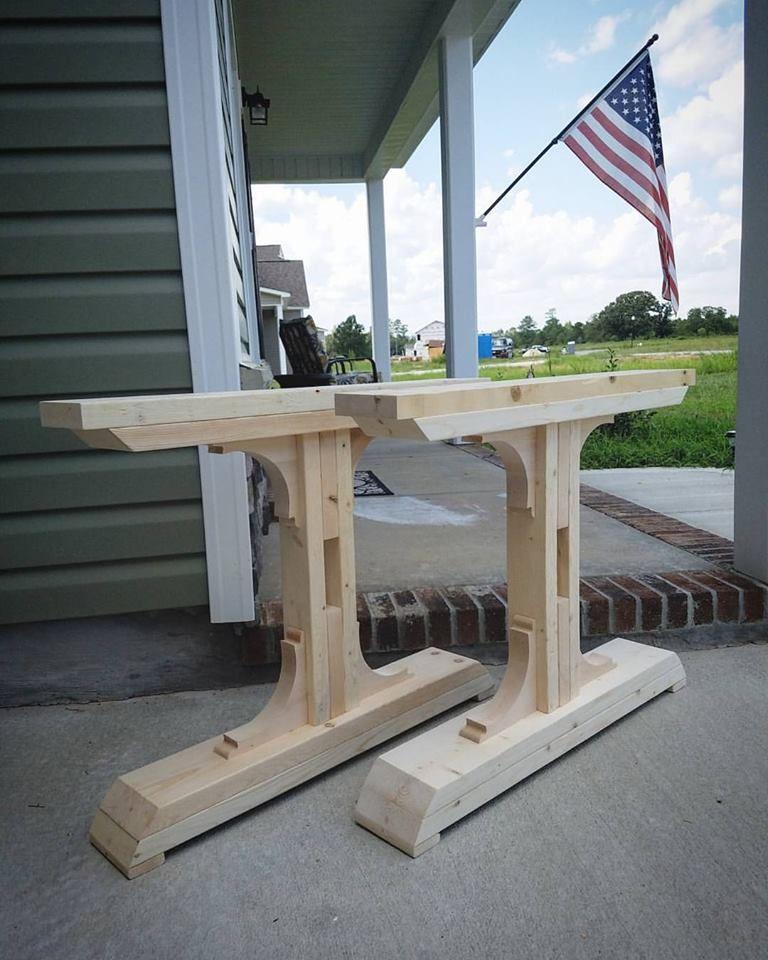 Farmhouse trestle legs wood table legs diy farmhouse