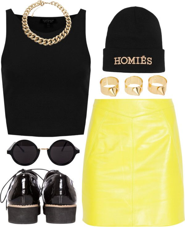 """Black & Yellow"" by rosiee22 ❤ liked on Polyvore"