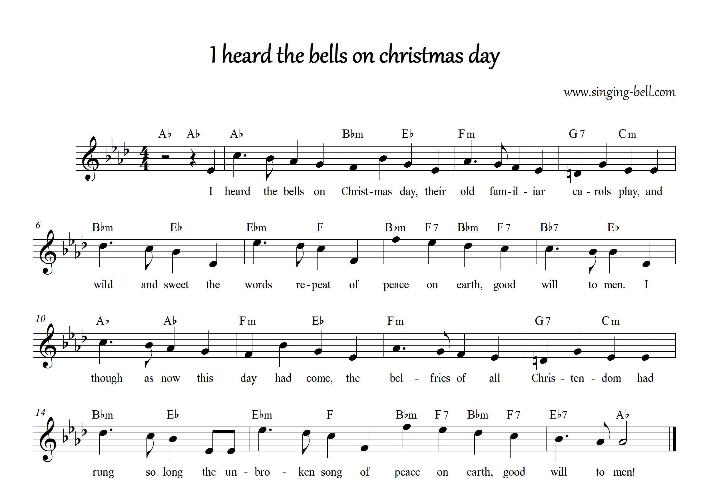 I Heard the Bells on Christmas Day Sheet music, Xmas