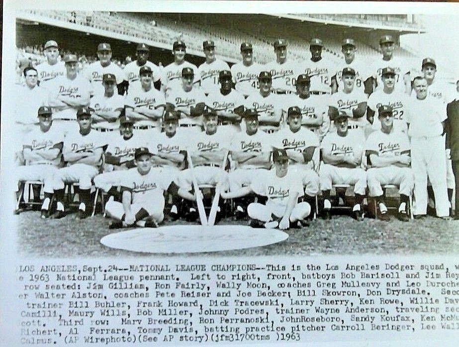 Los Angeles 1963 Dodgers Squad Baseball World Series