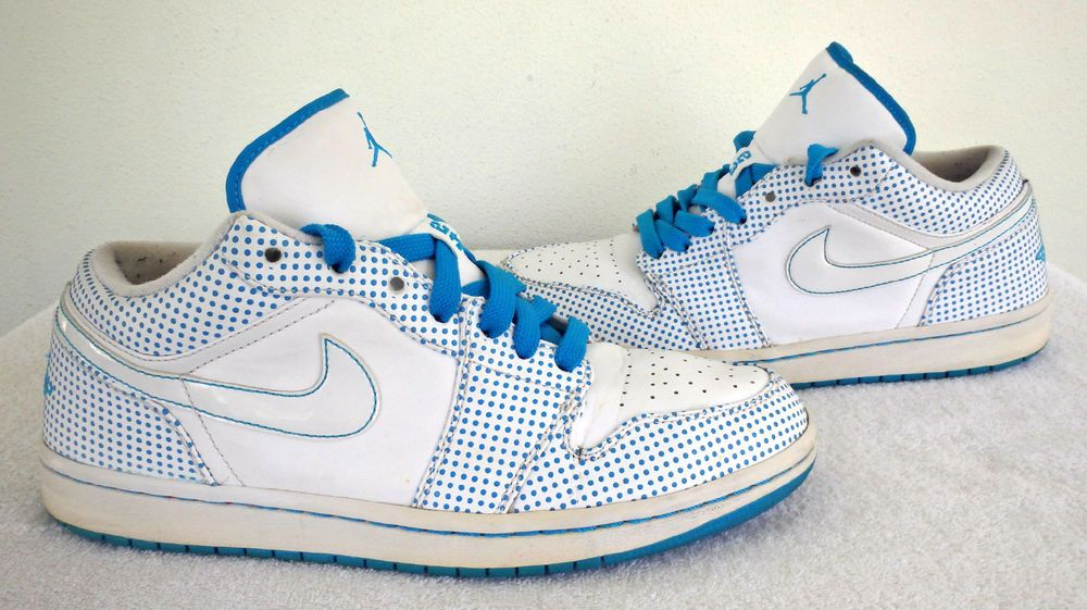 Nike Air Jordan 1 Phat Low White Laser Blue Polka Dot Men's 338145-141 Sz  11 GC