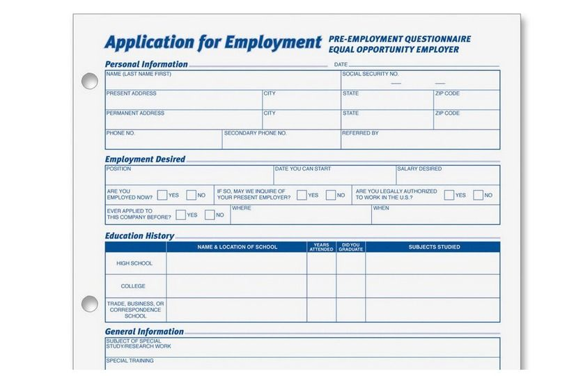 generic employment application form Adult Basic Education
