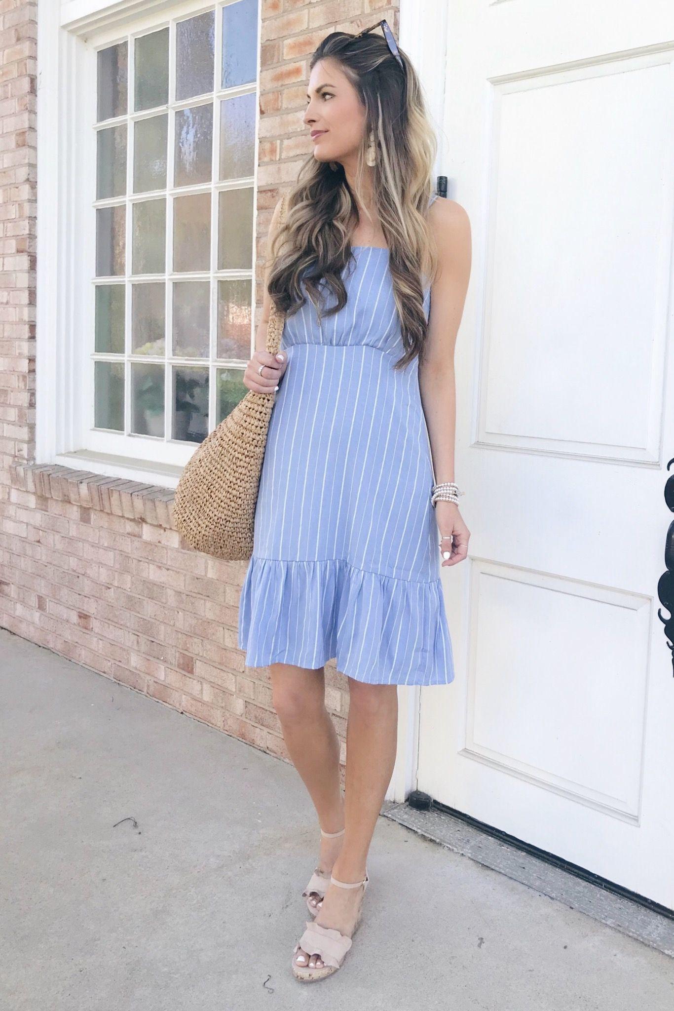 Walmart Dress Pinteresting Plans Fashion Blog In Blue Striped Midi Dress Walmart Dresses Spring Outfits Casual Stripe Outfits [ 2048 x 1366 Pixel ]