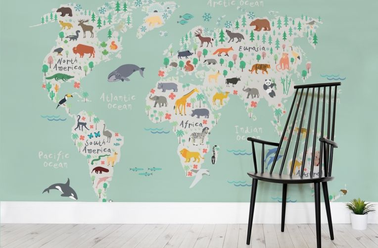 Safari kids map mural wallpaper wall murals playrooms and safari our safari kids map wall mural is a charming pictorial world map wallpaper containing illustrated gumiabroncs Image collections