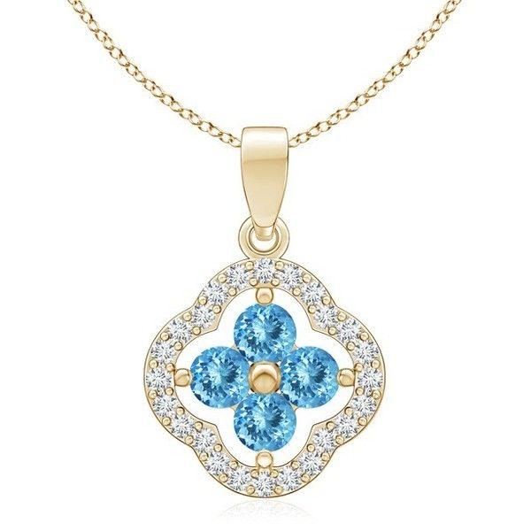 Angara Dangling Aquamarine and Diamond Triple Heart Pendant xC1l9Ku17