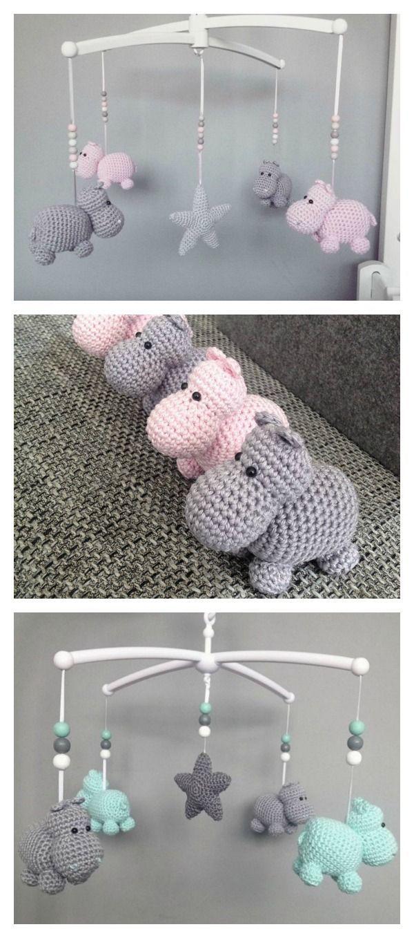 Häkeln Sie Hippo Animal Baby Mobile Kostenlose Muster Häkeln