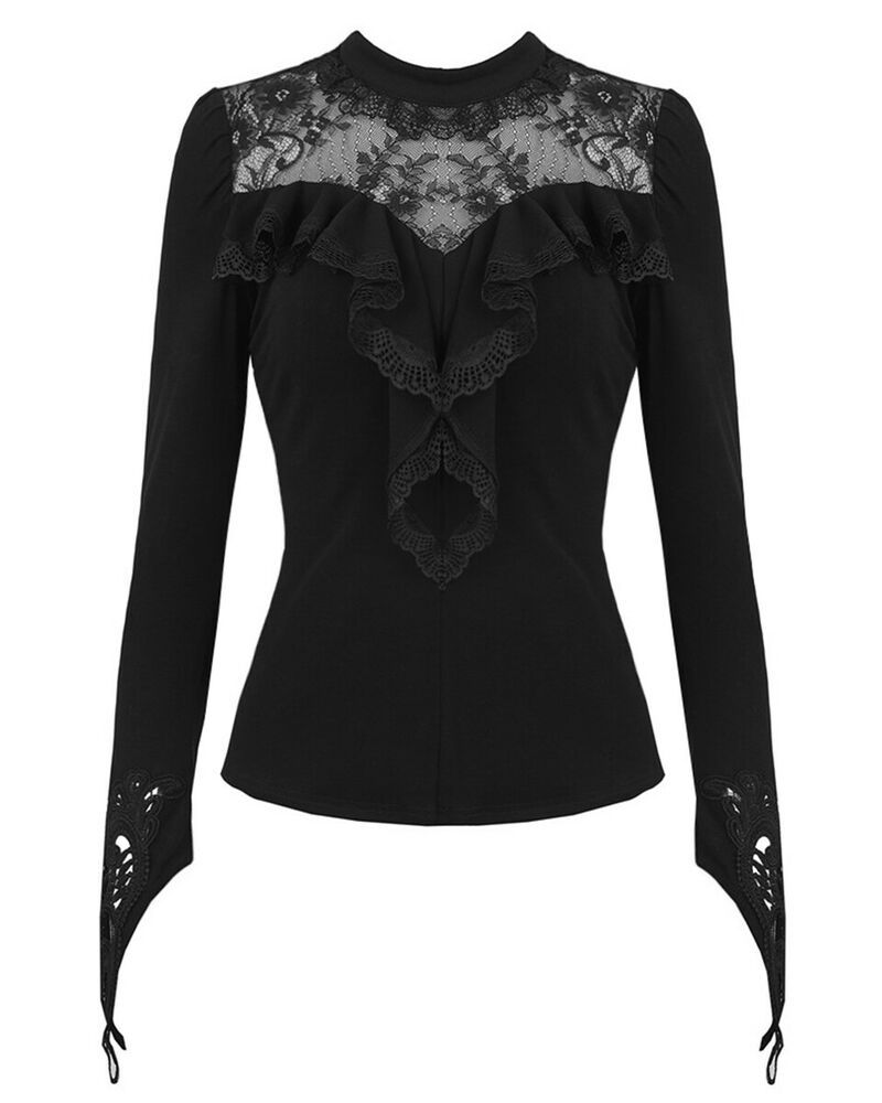 Dark In Love Womens Gothic Top Black Long Sleeve Lace Frill Steampunk Victorian