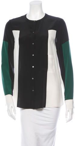 Elizabeth and James Silk Colorblock Blouse