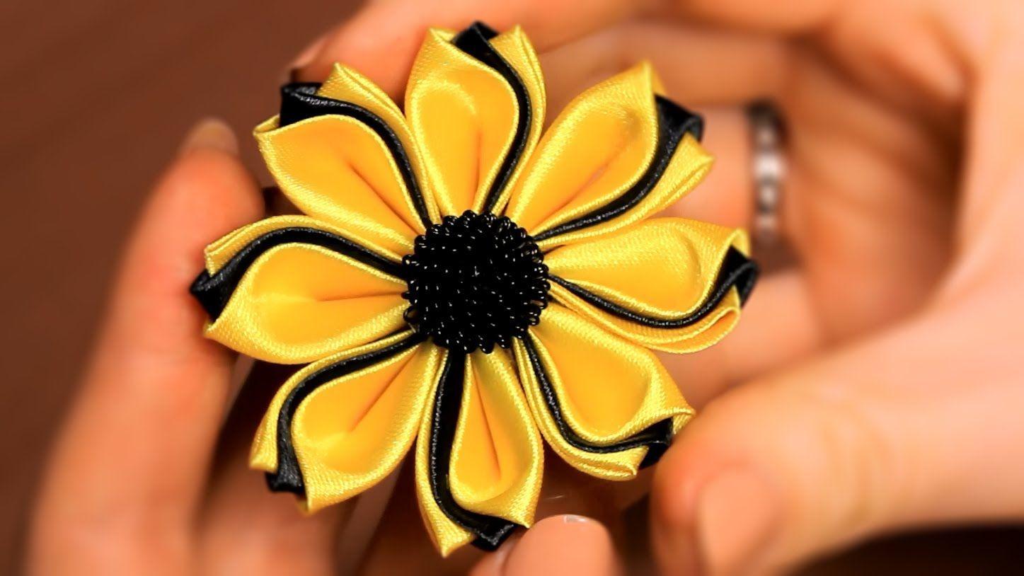 Цветок Канзаши из тройных лепестков / Мастер класс