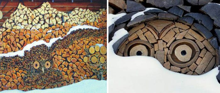 These People Turned Log Piling Into An Art Form Wood Art Design Wood Pile Wood Art