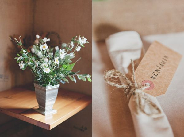Simple White Flower Arrangement DIY Stamped Napkin Tag