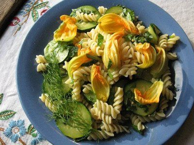 Zucchini Flower Pasta with Herbs