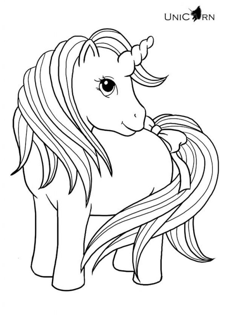 lovely baby unicorn with long hair and tail coloring page