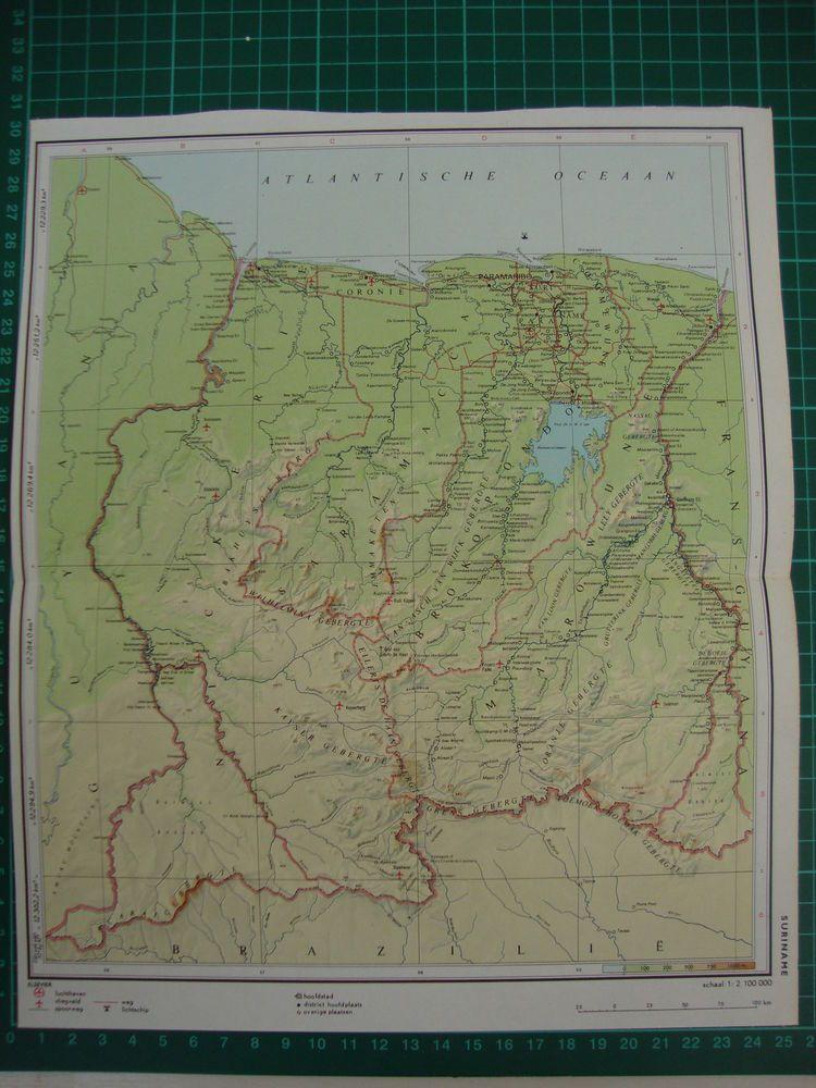 Old map Suriname karte kaart carte 1975