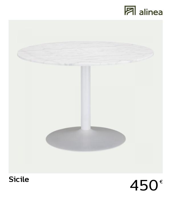 table de repas ronde en marbre blanc