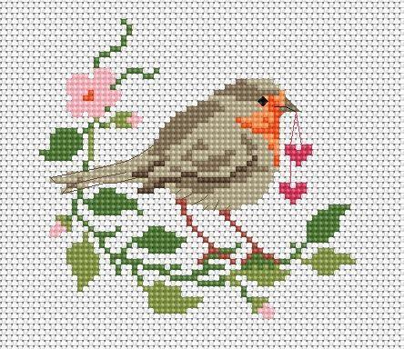 Robin with hearts crochet ideas pinterest cross - Vorlage vogel ...