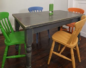 Shabby Chic Multi Coloured Dining Table With 4 Chairs Painted Dining Table Dining Room Makeover Shabby Chic Dining Tables