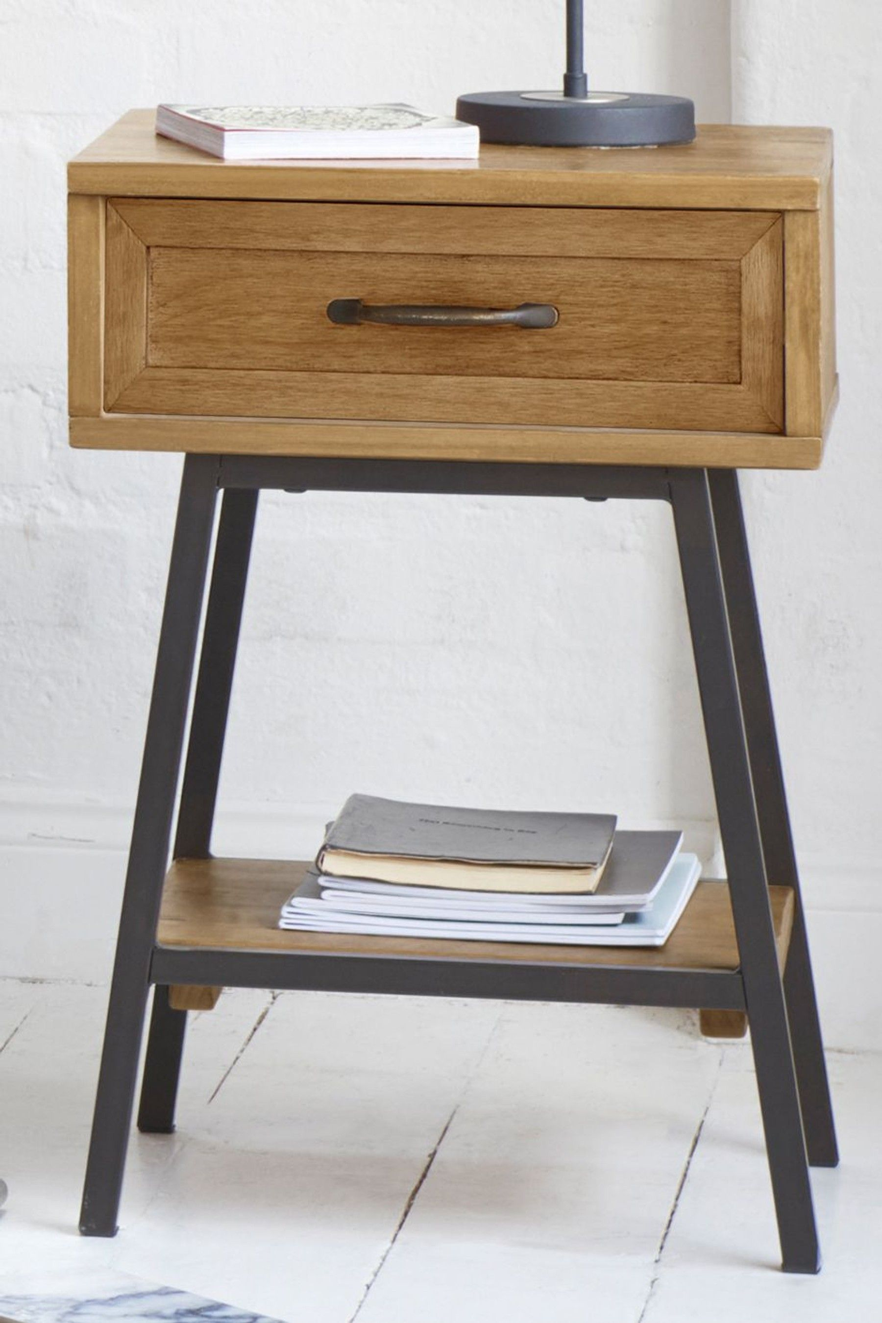 Next Hoxton Metal Slim 1 Drawer Bedside Table Brown Bedside