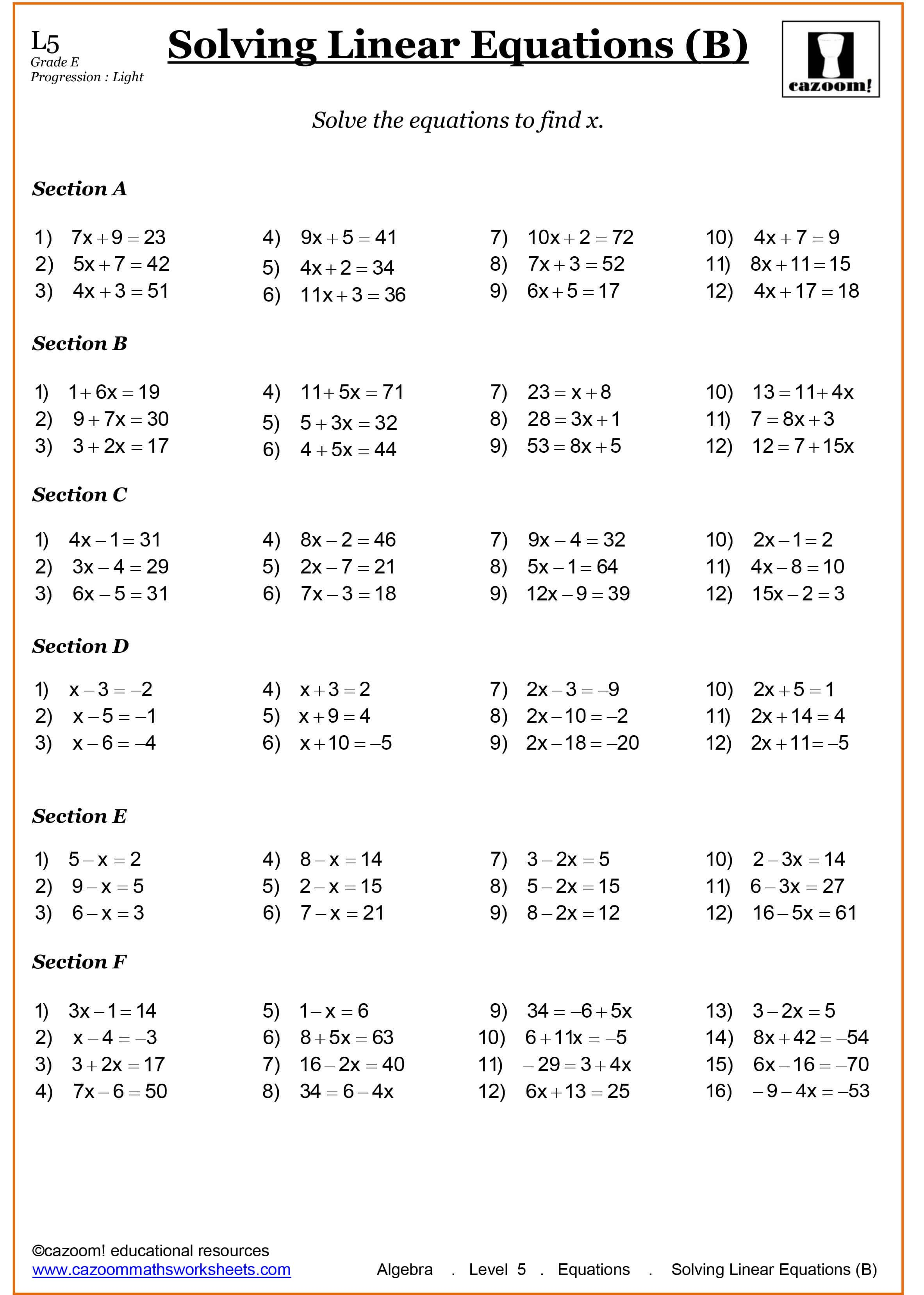 Maths Worksheet Solving Linear Equations In