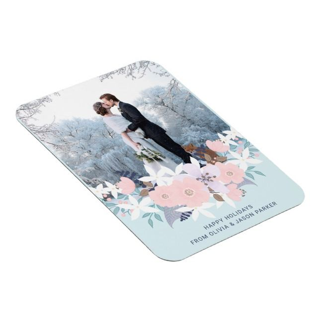 Christmas Pastels Floral Holiday Photo Magnet