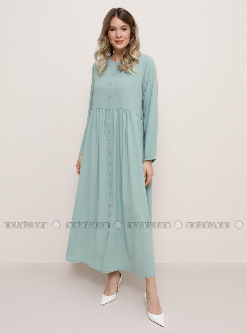 Photo of En Güzel Tesettür Elbise Modelleri Vert menthe  Vert pastel  Tissu non doublé…