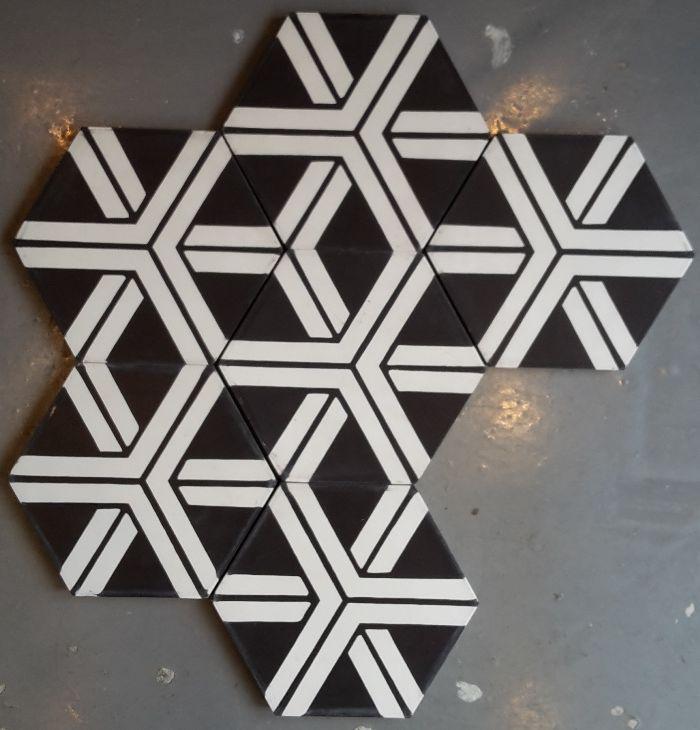 Carreaux De Ciment Modele Ch 21 Hexagonal En 17x17 Charme