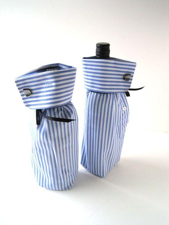ein altes hemd dient als verpackung f r die flasche n hen aus alt mach neu. Black Bedroom Furniture Sets. Home Design Ideas