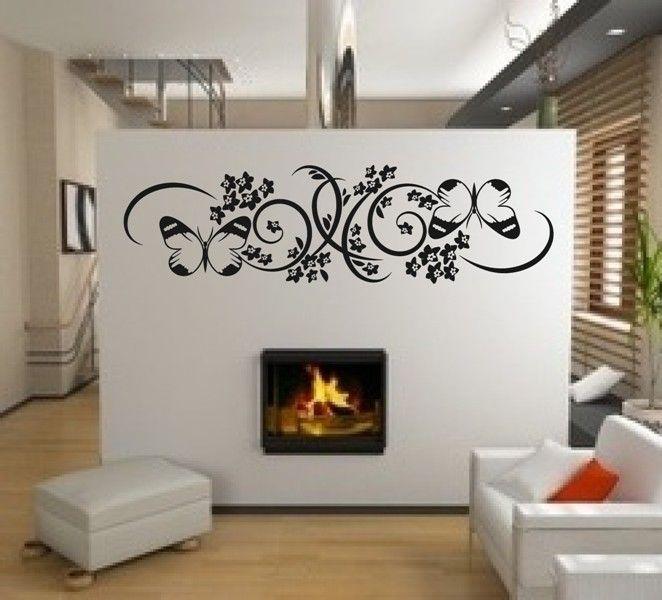 details zu n0054 blumen ornament wandtattoo wandaufkleber wohnzimmer schlafzimmer flur - Wandtattoo Wohnzimmer Blumen