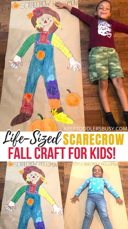 Fall Crafts For Kids: Life-Sized Scarecrow Painting!