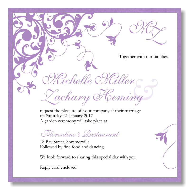 Purple Flourish Wedding Invitation Template Fun Wedding Invitations Free Wedding Invitations Free Wedding Invitation Templates
