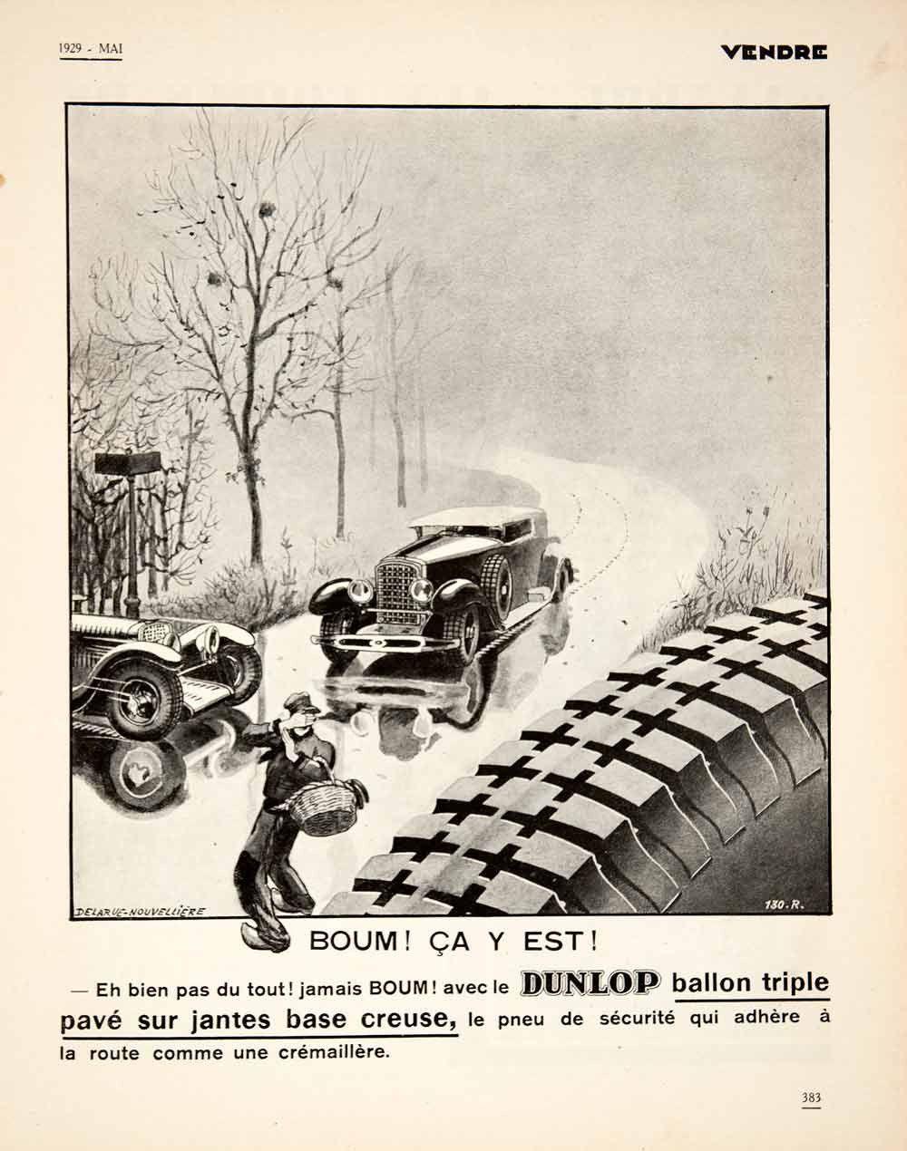 1929 Ad French Dunlop Balloon Tire Pneu Vintage Automobile Car Foggy R Vintage Cars Balloon Tire Automobile [ 1270 x 1000 Pixel ]