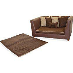Deluxe Orthopedic Memory Foam Dog Sofa Bed Set, Large, Brown