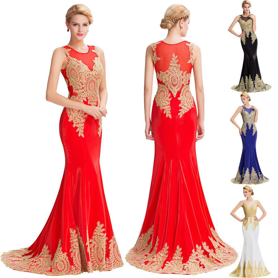 Red sexy applique mermaid long bridesmaid gown ball party cocktail