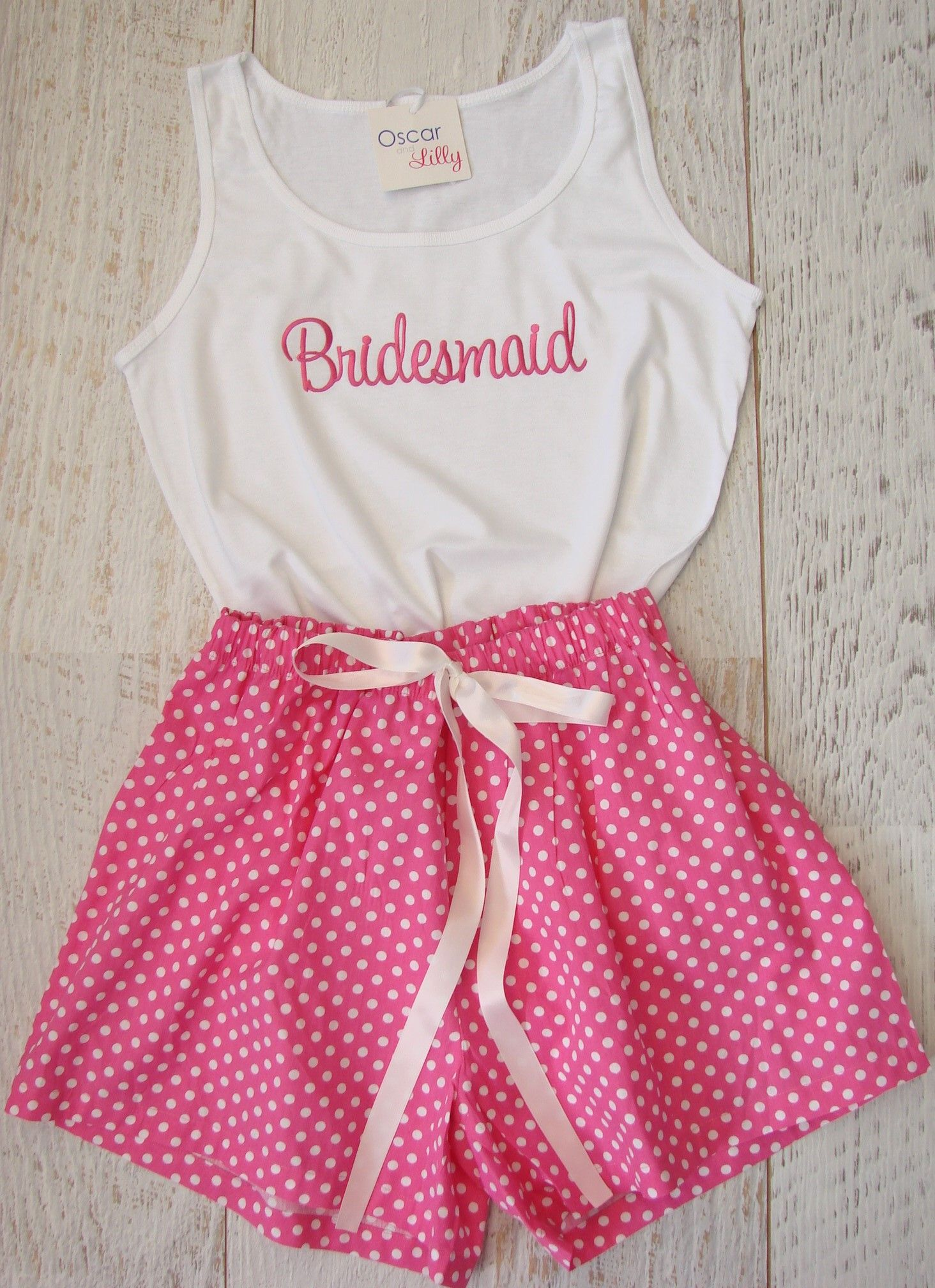 Fun ... just in Hot Pink Polka Dot PJ\'s for the Bridesmaid with ...