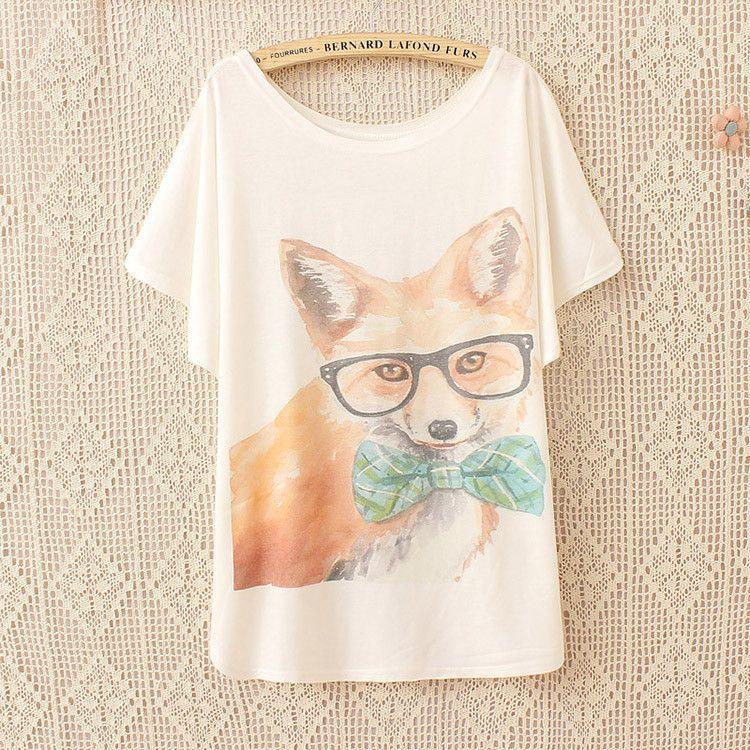 Glasses Fox Printed Tee