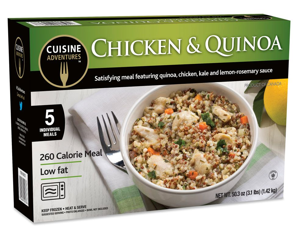Frozen snacks and meals for every day and any occasion! Www.cuisineadventures foods.com  Chicken and quinoa one dish frozen meal