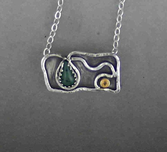 Green Agate, yellow Sapphire, silversmith piece.  Stained Glass Panel I call it.  Victorian look.  Valentines Day!