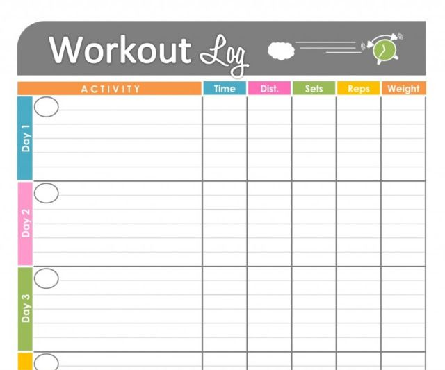 Personal Training Workout Log Template