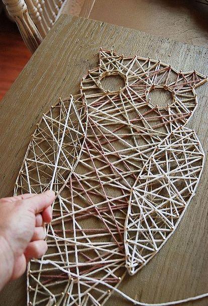 owl string art diy crafts idee cadeau bricolage macram et chouette. Black Bedroom Furniture Sets. Home Design Ideas