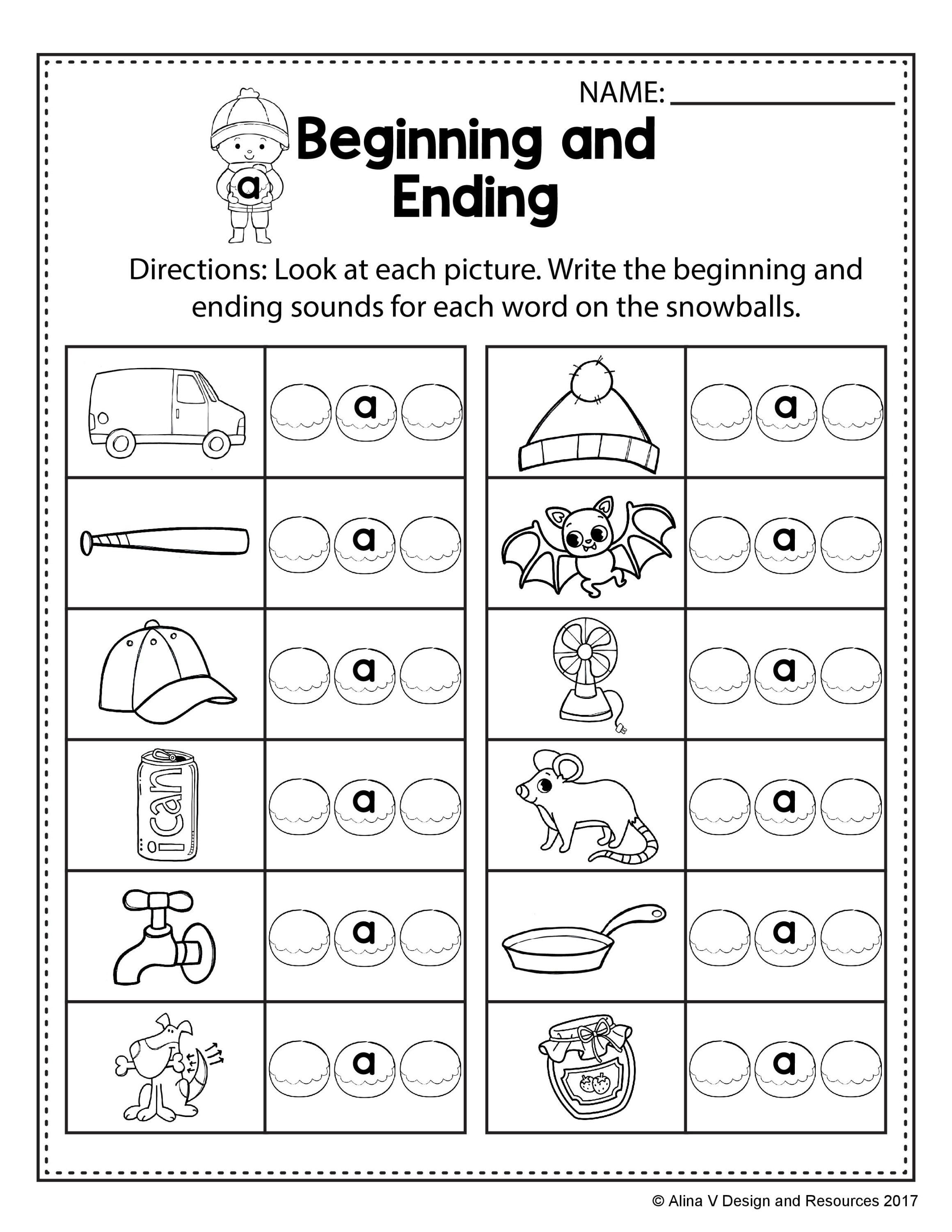 Worksheets Beginning And Ending Sounds Worksheets free winter literacy worksheet for kindergarten no prep beginning and ending sounds practice with short a words cvc worksheets