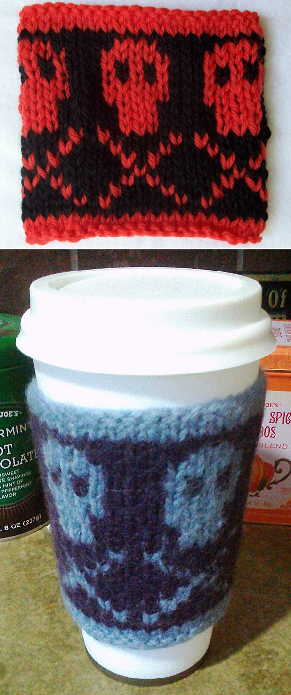 Free Knitting Pattern For Poison Coffee Cozy Cup Sleeve With